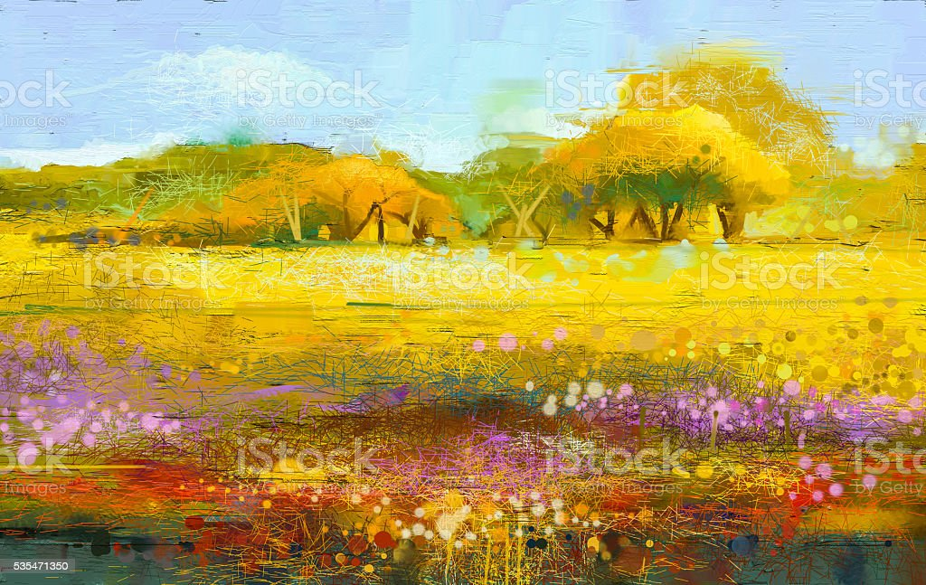Abstract colorful oil painting landscape vector art illustration