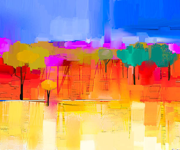 Abstract colorful oil painting landscape on canvas vector art illustration
