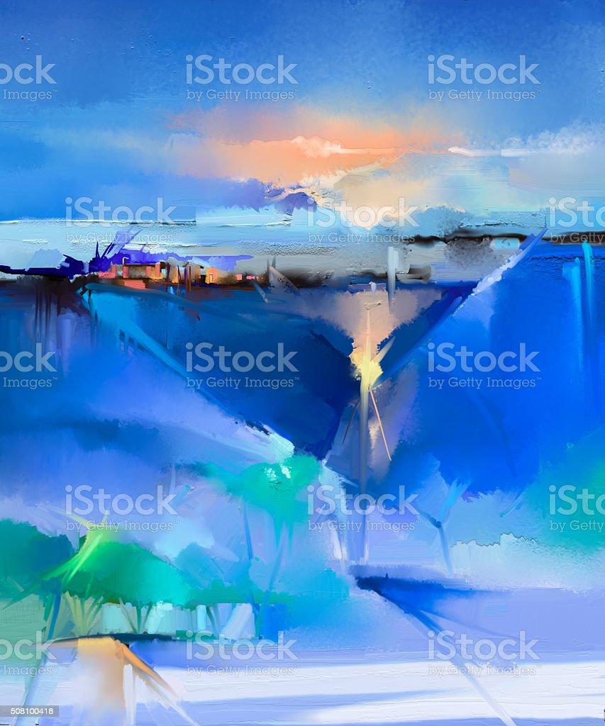 Ilustración de Resumen Paisaje Colorido Cuadro Al óleo Sobre Lienzo ...