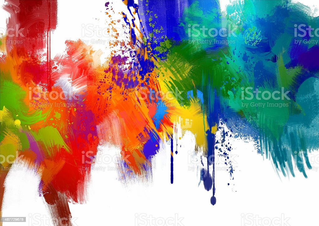 abstract colorful paint stroke on white background vector art illustration
