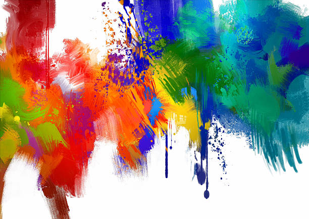 stockillustraties, clipart, cartoons en iconen met abstract colorful paint stroke on white background - acrylverf