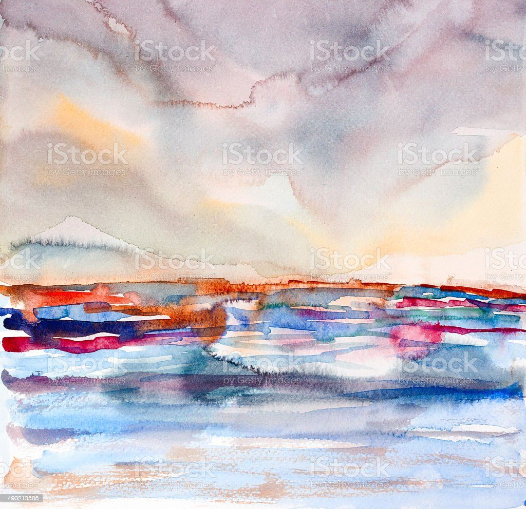 abstract colorful seascape watercolor painted vector art illustration