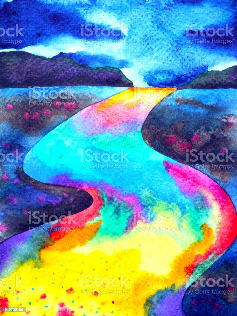 abstrato de ilustração de rua pintura aquarela forma colorida estrada fantasia desenha a mão desenhada - ilustração de arte em vetor