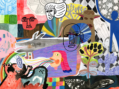 Abstract colourful collage of people, patterns and nature elements
