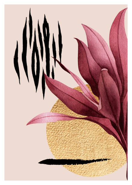 Abstract composition of tropical plants, golden outline geometric figures and ink brushstrokes. Abstract composition of tropical plants, golden outline geometric figures and ink brushstrokes. banana borders stock illustrations