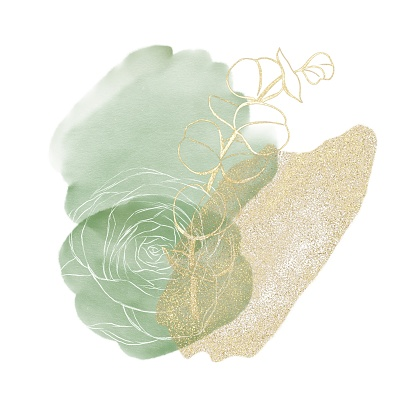 Abstract composition of watercolor spots of green color and a spot of sequins with a contour pattern of white roses and twigs of leaves with a golden contour