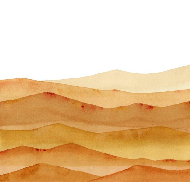 abstrakte wüste, sandbraune aquarell wellen hügel auf weißem hintergrund - wüste stock-grafiken, -clipart, -cartoons und -symbole