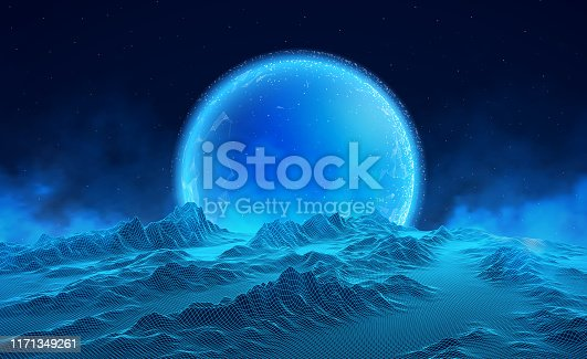 istock Abstract digital landscape with particles dots and stars on horizon. Wireframe landscape background. Big Data. 3d futuristic vector illustration. 80s Retro Sci-Fi Background 1171349261