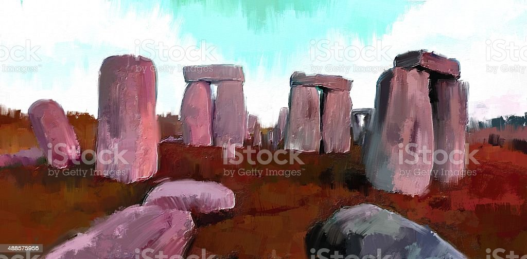 abstract digital painting of stonehenge vector art illustration