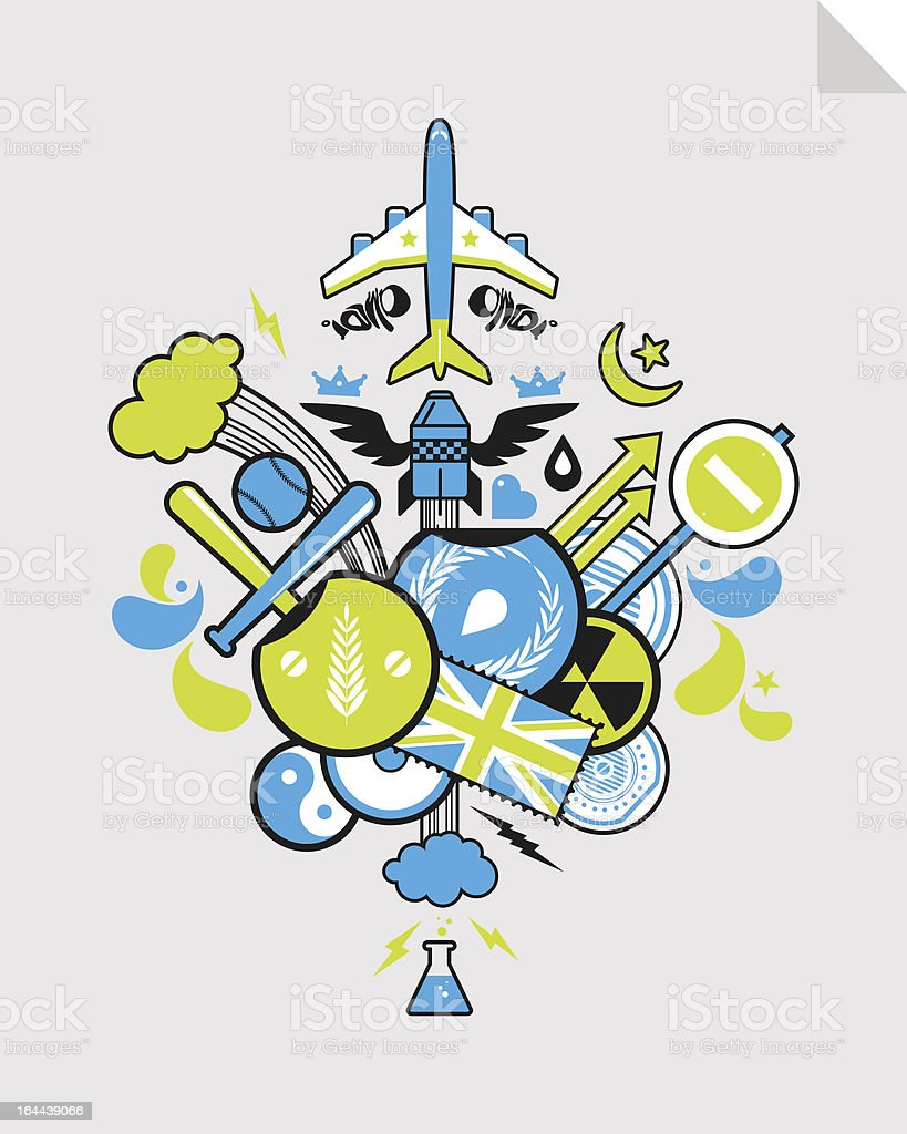 abstract drawing of various objects with a bomb royalty-free stock vector art
