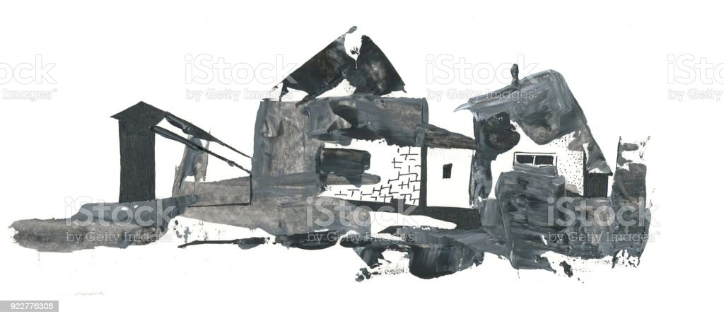 abstract drawing village houses vector art illustration