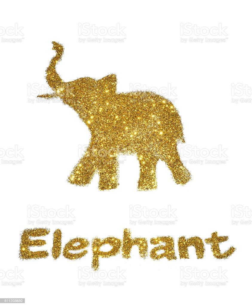 Abstract Elephant Of Golden Glitter With Trunk Raised Up Stock