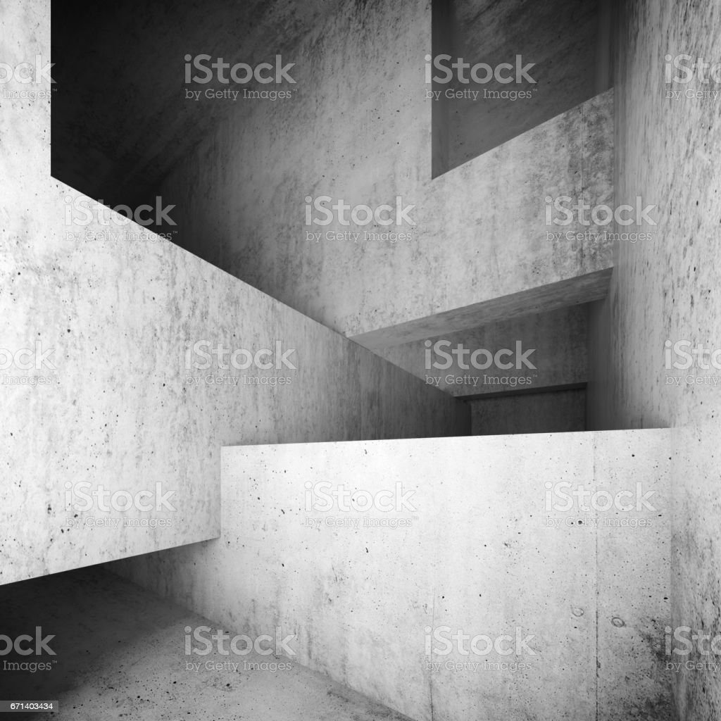 Abstract Empty Concrete Interior, Walls And Girders Royalty Free Stock  Vector Art