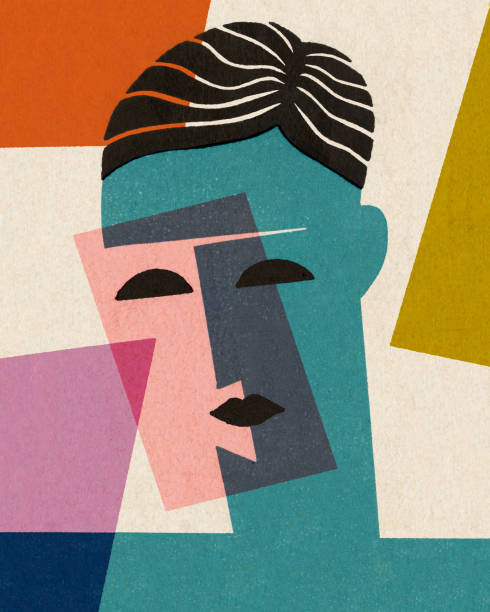 Abstract Face Abstract Face modern art stock illustrations