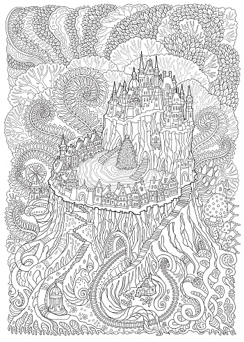 Abstract fantasy landscape. Fairy tale medieval castle on a fantastic tree stump. Stylized fern foliage, mushrooms. T-shirt print. Album cover. Adults and children coloring book page. Black, white