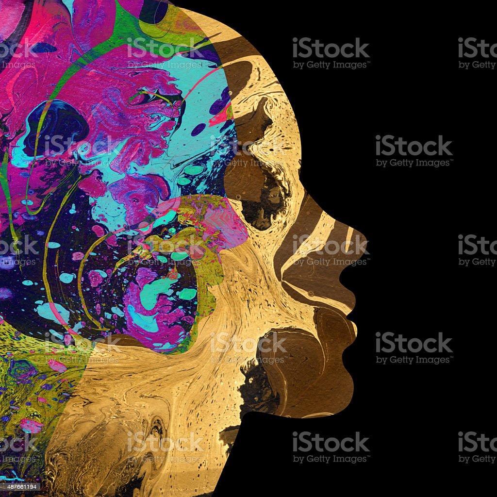 Abstract female head vector art illustration
