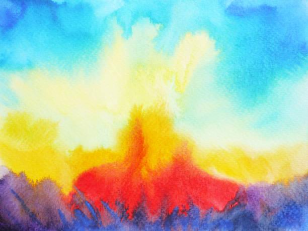 ilustrações, clipart, desenhos animados e ícones de fogo abstrato respingo poder aquarela pintada a mão desenho fundo - texturas de riscos