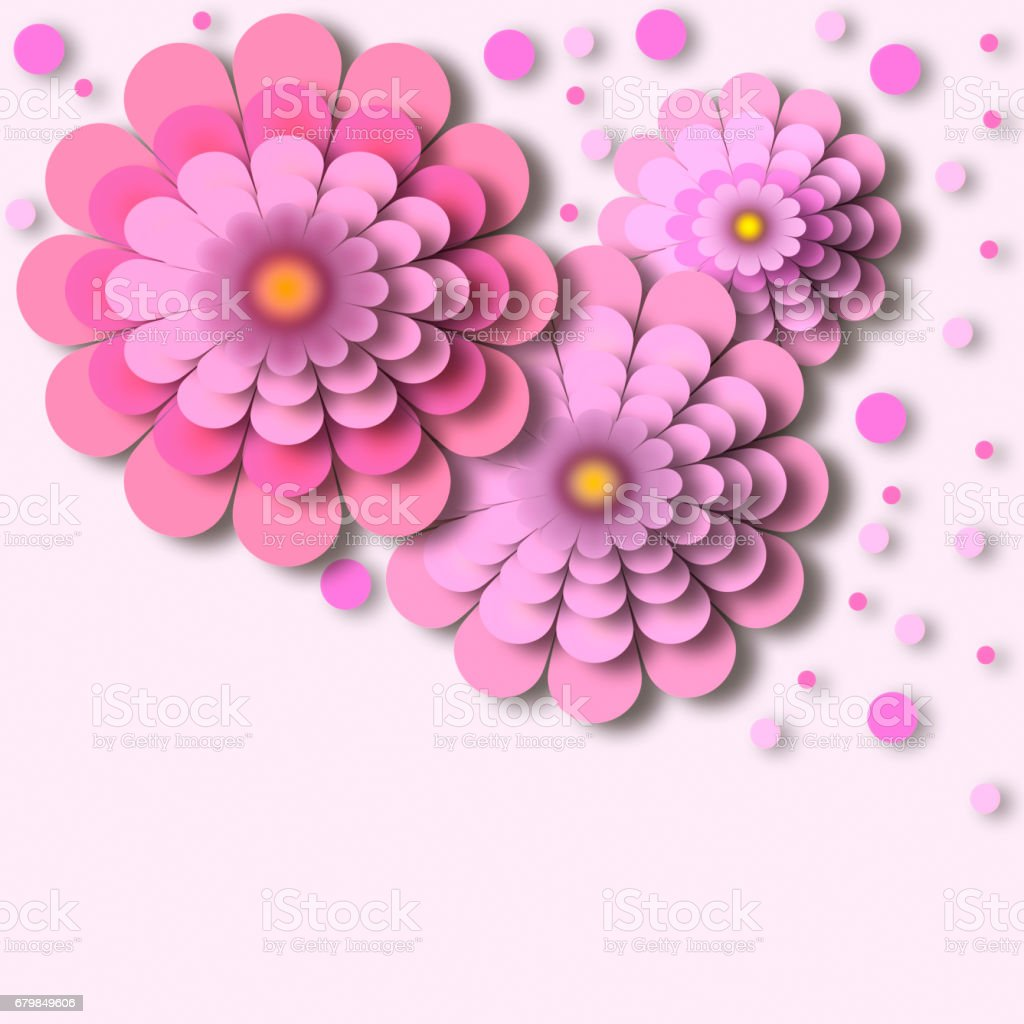 Abstract Floral Background Pink Flowers With 3d Effect Stock Vector