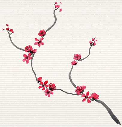Abstract floral collage in Japanese folk painting style Sumi-e. Pink red hand drawn fantasy Chinese plum flowers and branches on a rice paper background. Batik, book cover, tee shirt print