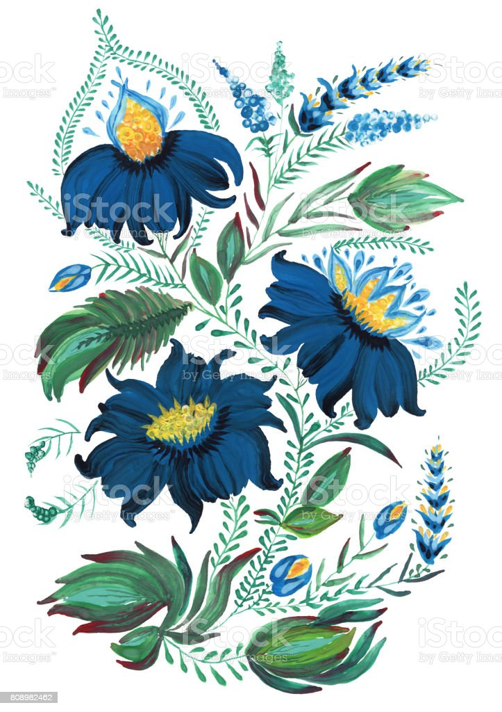 Abstract floral collage in Ukrainian folk painting style Petrykivka. Dark blue  hand drawn fantasy flowers, leaves, curly branches isolated on a white background. Batik, page fill, album cover, poster, tee shirt print vector art illustration