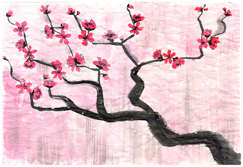 Abstract floral illustration in Japanese folk painting style Sumi-e. Pink red hand drawn fantasy Chinese plum flowers and branches on a pink colored rice paper background. Batik, book cover, tee shirt print