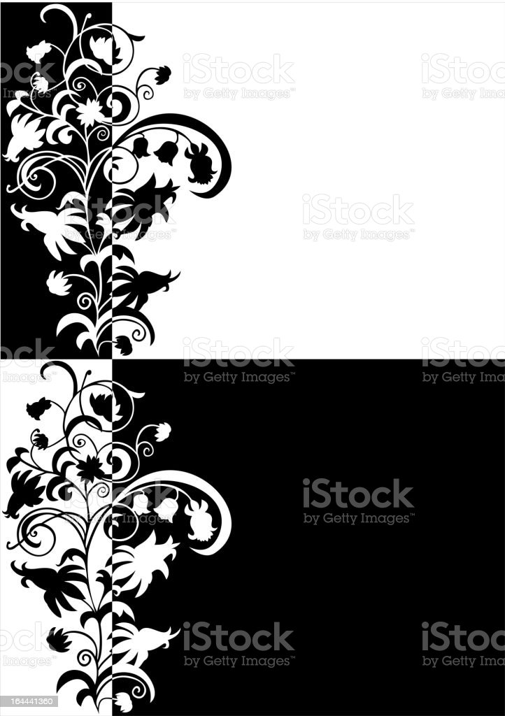 Abstract floral ornament in black and white colors royalty-free stock vector art