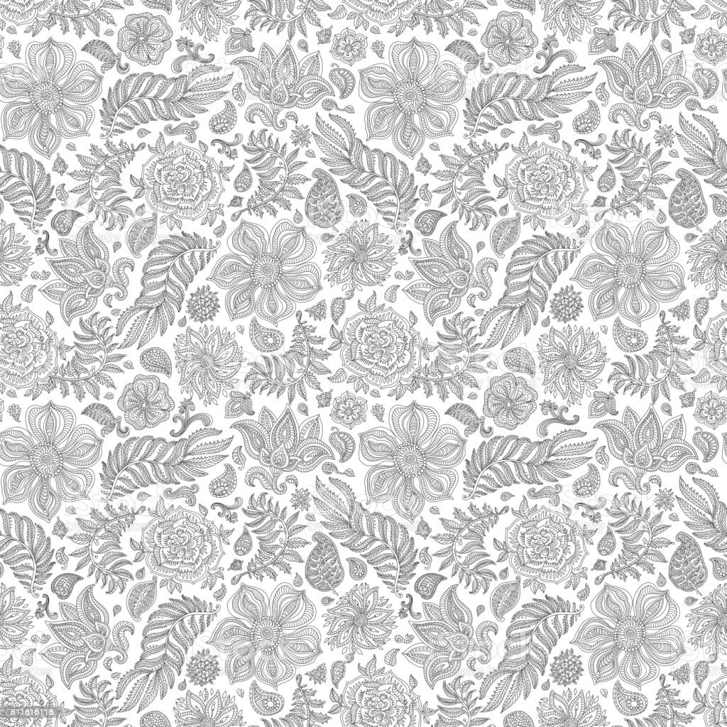 Exotic Silver Grey Paisley Elements Fantasy Flower Leaves