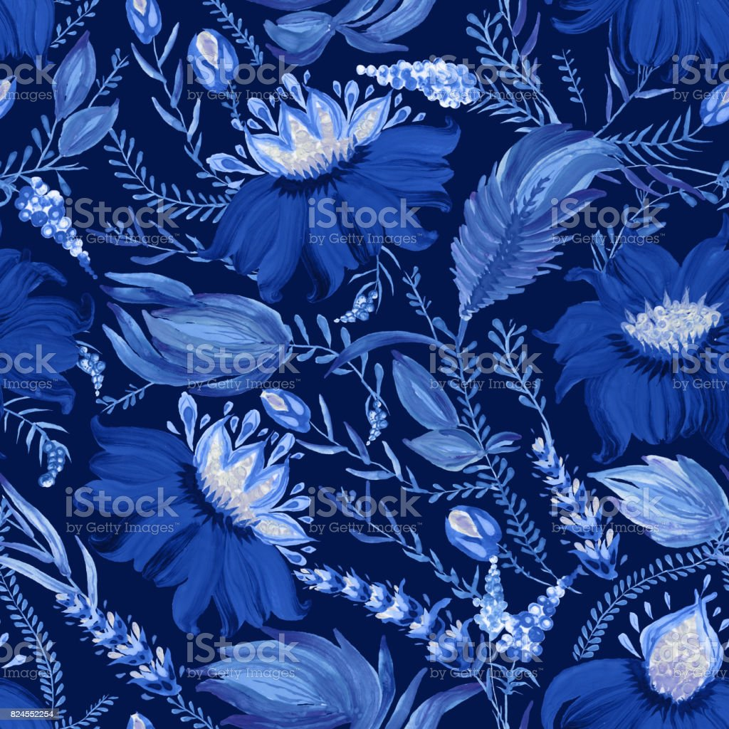 Abstract floral seamless pattern in Ukrainian folk painting style Petrykivka. Hand drawn fantasy flowers, leaves, branches on a dark indigo blue background. Batik, page fill, album cover, poster, textile print, wallpaper, wrapping paper vector art illustration