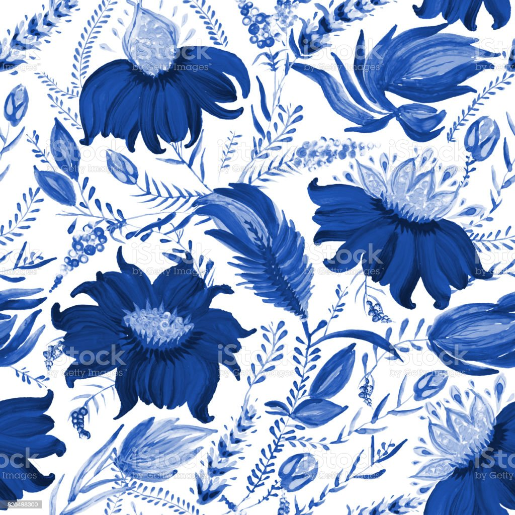 Abstract floral seamless pattern in Ukrainian folk painting style Petrykivka. Hand drawn fantasy flowers, leaves, branches on a white background. Batik, page fill, album cover, poster, textile print, wallpaper, wrapping paper vector art illustration