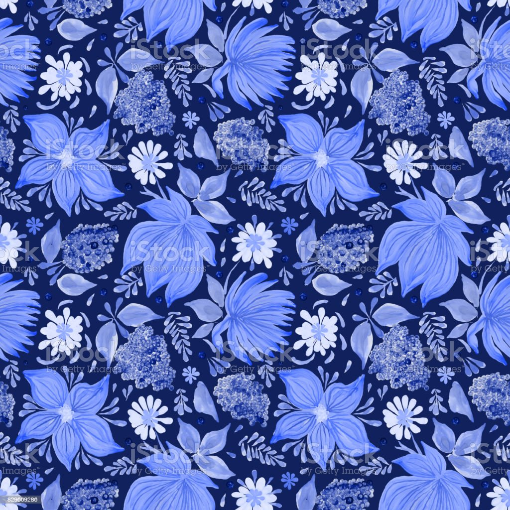 Abstract Floral Seamless Pattern In Ukrainian Folk