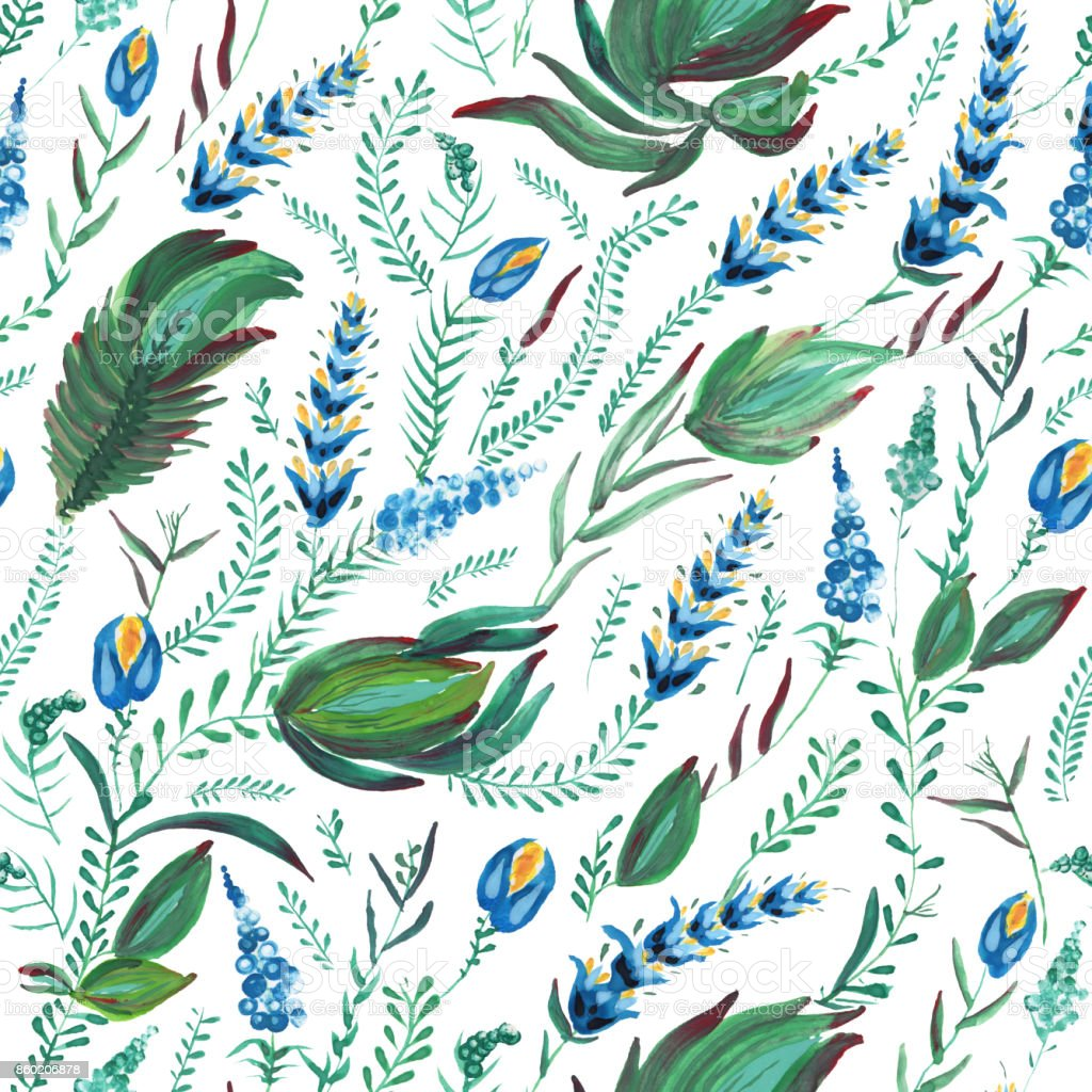 Abstract floral seamless pattern in Ukrainian folk painting style Petrykivka. Hand drawn fantasy flowers, leaves, herbs and branches isolated on a white background. Batik, page fill, album cover, wallpaper, textile print, wrapping paper vector art illustration