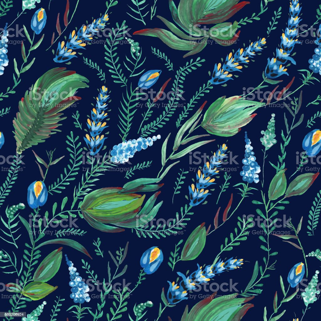 Abstract floral seamless pattern in Ukrainian folk painting style Petrykivka. Hand drawn fantasy flowers, leaves, herbs and branches on a dark blue  background. Batik, page fill, album cover, wallpaper, textile print, wrapping paper vector art illustration