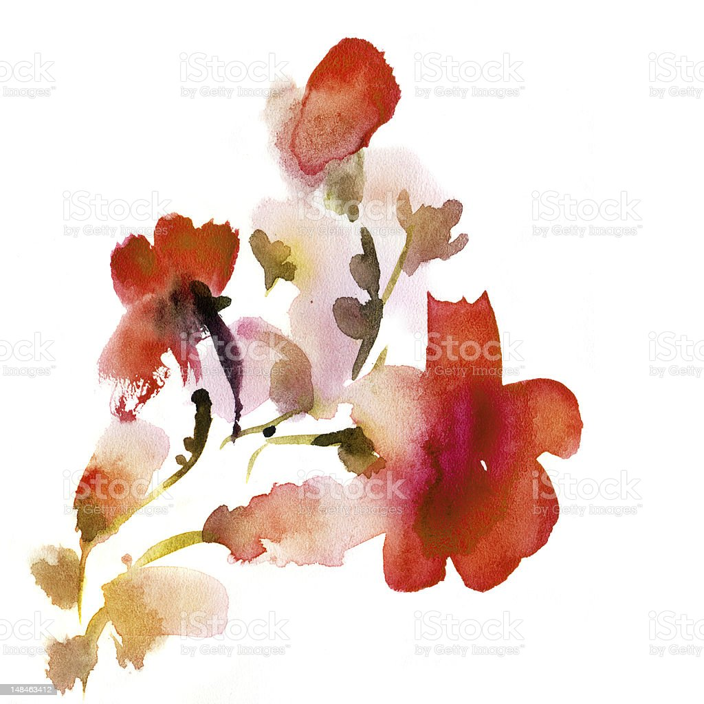 Abstract floral watercolor royalty-free stock vector art