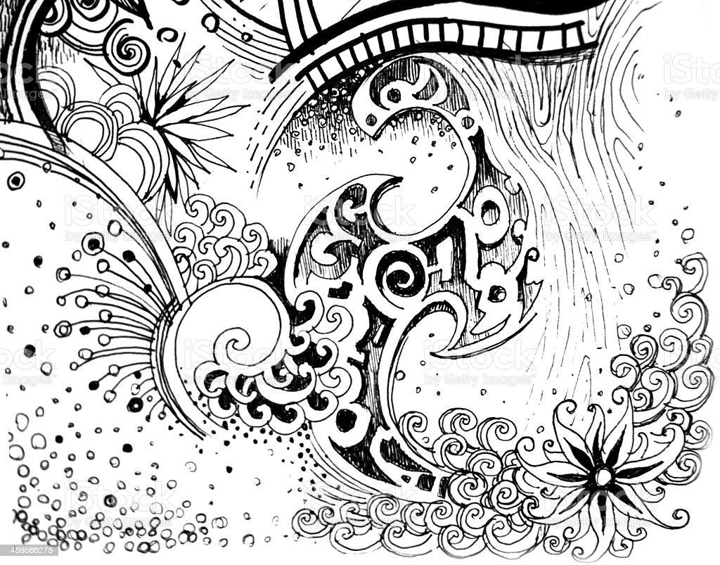 Fiore Astratto Bianco E Nero Natura Del Disegno Immagini