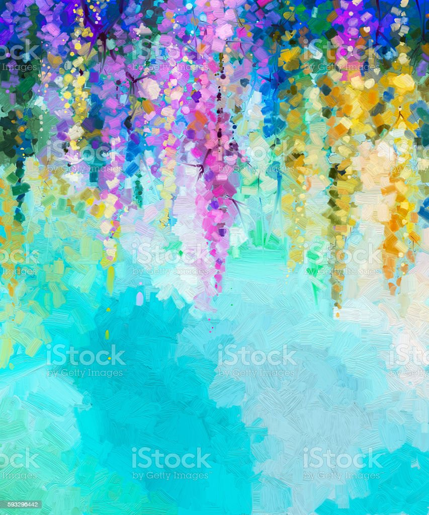 Abstract flower oil painting background stock vector art for Background painting ideas
