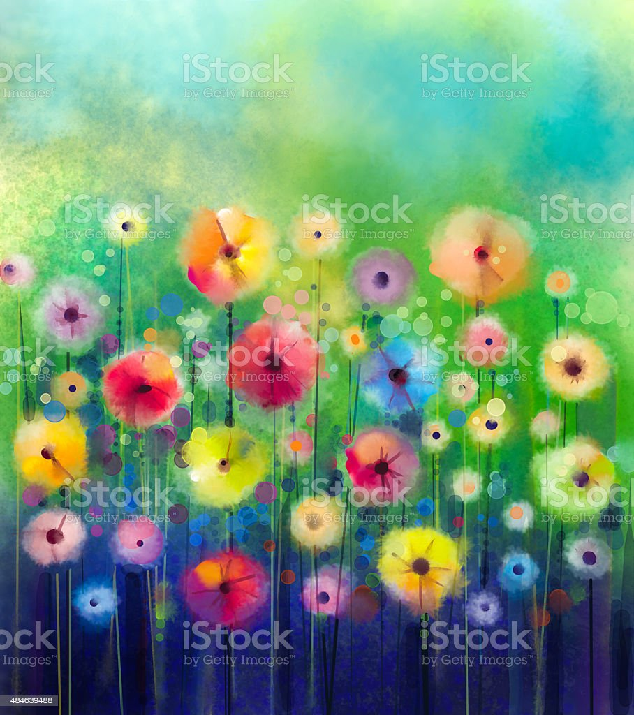 Abstract flower watercolor painting vector art illustration