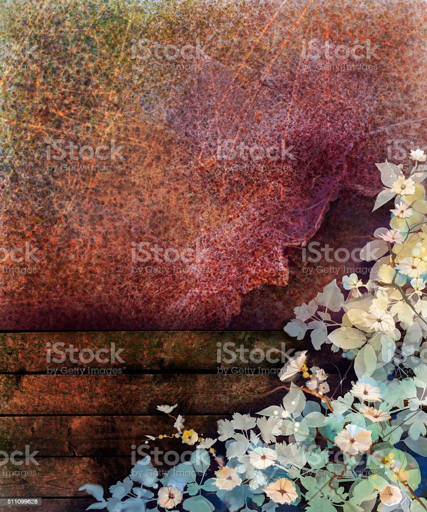 Abstrakt Blumen In Aquarellmalerei Auf Mauer Und Holz Zaun Stock