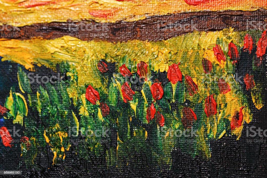 Abstracte bloemen met olieverfvectorkunst illustratie