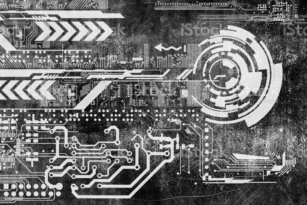 Abstract futuristic cyber grunge industrial vintage background abstract futuristic cyber grunge industrial vintage background blueprint on old grungy surface futuristic technology malvernweather Choice Image