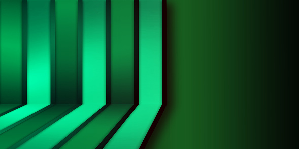 Abstract green gradient corporate futuristic technology background with vertical and diagonal lines.