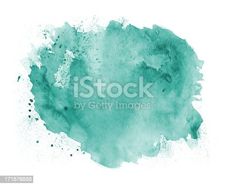 This is a high resolution watercolor painting. This painting is an abstract circular shape on a pure white background. There are various textures in this green, painted background.