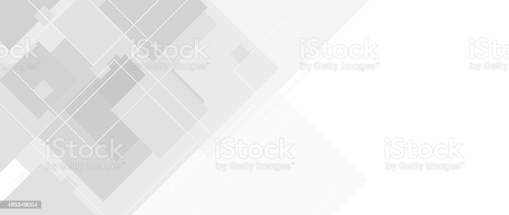 Abstract grey tech banner with squares vector art illustration
