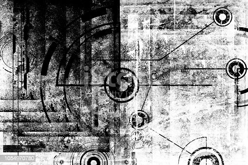 Abstract grunge futuristic cyber technology background. Sci-fi circuit design. Drawing on old grungy surface. Scratch wall. Futuristic engineering urban design. Cyber punk design