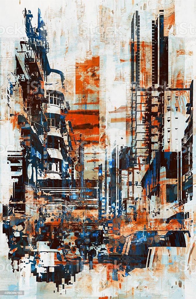 Abstrato grunge da cidade - ilustração de arte em vetor