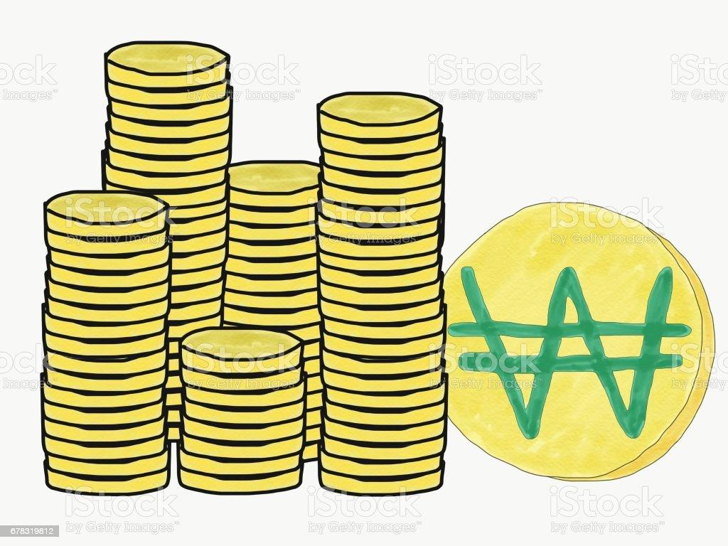 Abstrakte Hand Zeichnen Doodle Stapel Von Korea Geld Münzen Logo