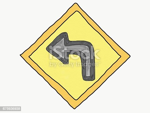 Abstract hand draw doodle turn left arrow on yellow sign isolate, illustration, copy space for text, watercolor paint style, children cartoon book style