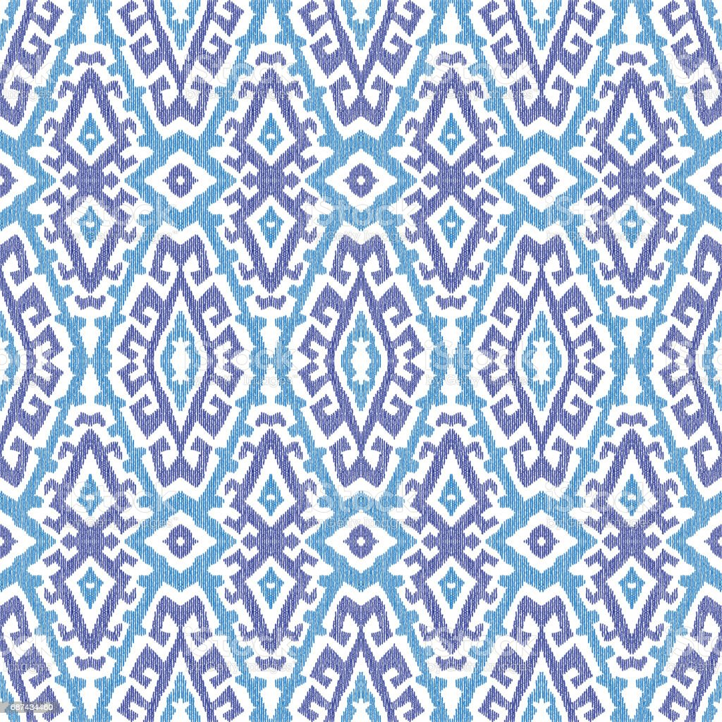 Abstract hand drawn geometrical abstract seamless Ikat pattern from decorative ethnic ornament. Blue indigo  tribal elements on a white background. Batik, wallpaper, wrapping, page fill, textile print vector art illustration