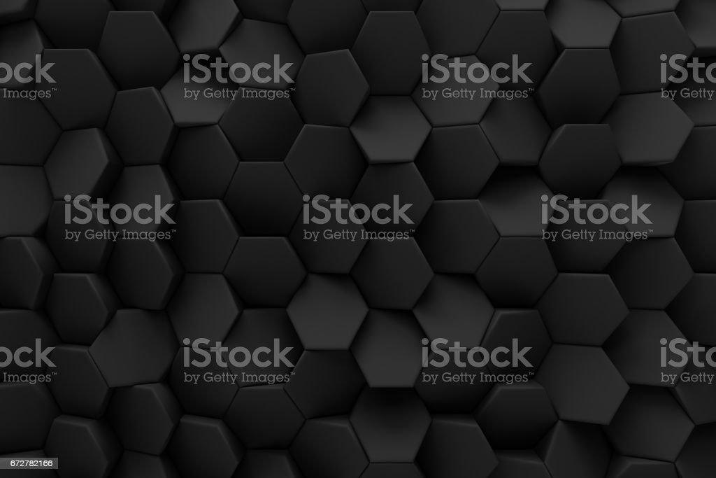 abstract hexagon black bee hive modern technology background 3d render vector art illustration