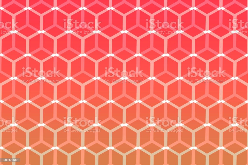 Abstract hexagonal geometric shape pattern with red colour vector art illustration