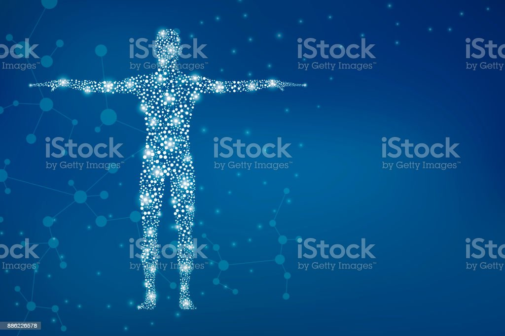 Abstract human body with molecules DNA. Medicine, science and technology concept. Illustration royalty-free abstract human body with molecules dna medicine science and technology concept illustration stock illustration - download image now